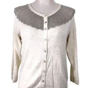 Anthropologie Sweaters - Sparrow Shimmer Fan Cardigan Womens Sz M Cream